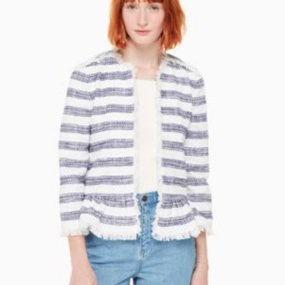 Kate Spade blue and white striped jacket